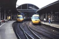 BR InterCity 125 services stand side-by-side at Newcastle Central in 1985.<br><br>[Ian Dinmore&nbsp;//1985]
