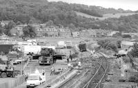 Aftermath of a coal train derailment at Burntisland seen looking north in July 1998 with a couple of hopper wagons still awaiting recovery. The cross-over was not reinstated.<br><br>[Bill Roberton&nbsp;/07/1998]