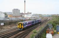 A Northern 158 photographed shortly after leaving Hull station in April 2009. The train, which originated from Bridlington, is destined for Sheffield. <br><br>[John Furnevel&nbsp;23/04/2009]