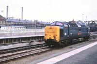 Deltic 55021 <I>'Argyll and Sutherland Highlander'</I> photographed at Doncaster on 6 February 1981.<br><br>[Peter Todd&nbsp;06/02/1981]