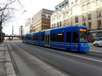 One of the relatively new Flexity Swift trams on Stockholm's Line 7 in the city centre on 24 February 2012.<br><br>[Colin Miller&nbsp;24/02/2012]