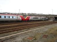 Virgin Super Voyager 221102 leads sister unit 221109 into Holyhead station on 29 February 2012 with the 12.50 arrival from London Euston. <br><br>[David Pesterfield&nbsp;29/02/2012]