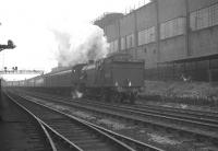 An ecs working leaving Heaton carriage sidings for Newcastle Central in May 1964 behind Gresley V3 no 67636.<br><br>[K A Gray&nbsp;02/05/1964]