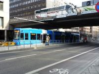 The rather ad hoc terminus of the 'new' Stockholm tramway under a bridge. Apparently there are plans to extend the line to Central Station - which would probably be more useful.<br><br>[Colin Miller&nbsp;/02/2012]