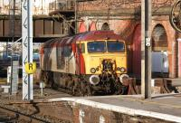 Standby locomotive 57307 <I>Lady Penelope</I> sunbathes in the bay at the north end of platform 3 at Preston station on 18 February 2012.<br><br>[John McIntyre&nbsp;18/02/2012]