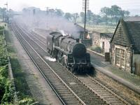 Corkerhill shed's Standard class 5 4-6-0 no 73123 runs north light engine through Lochside in August 1959.  <br><br>[A Snapper (Courtesy Bruce McCartney)&nbsp;21/08/1959]