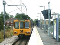 A Tyne and Wear Metro service shortly after arrival at South Hylton terminus in the summer of 2004. Prior to 1967 the line crossed the road in the background and continued on to join the Leamside line at Penshaw Junction. <br><br>[John Furnevel&nbsp;04/07/2004]