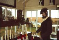 A rather fearsome dummy in charge at Norham signal box in the late 1970s. Closure between Kelso and Tweedmouth had taken place in 1965. <br><br>[Bruce McCartney&nbsp;//]