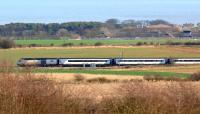 An East Coast train heading north on the ECML at Longhoughton, Northumberland, on 11 March 2012.<br><br>[John Steven&nbsp;11/03/2012]