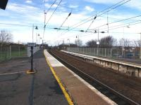 The extended platforms at the north end of Troon station on 17 March 2012. Essentially a replacement for what was removed at the time of electrification.<br><br>[Colin Miller&nbsp;17/03/2012]