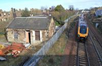 The remains of Joppa station in March 2012. View is east with an up Arriva CrossCountry Voyager passing.<br><br>[Bill Roberton&nbsp;17/03/2012]