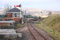 Scene on the Leadhills and Wanlockhead Railway on 15 March 2012. View is east past the signal box to the station.<br><br>[Bill Roberton&nbsp;15/03/2012]