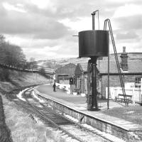 Early Spring sunshine at Oxenhope station, the attractive terminus of the KWVR, on 28 March 1976.<br><br>[Bill Jamieson&nbsp;28/03/1976]
