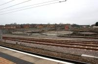 Scene south west of York station on 13 March 2012 where the remains of two North Eastern Railway roundhouses have been uncovered during excavation work for a new Network Rail operational facility and training centre. [See image 29027]<br><br>[John McIntyre&nbsp;13/03/2012]