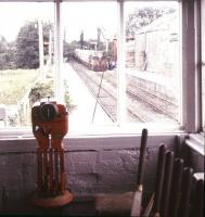 View from the disused signal box at Gort, Co Galway, in July 1988, with a cement train standing in the background.<br><br>[Ian Dinmore&nbsp;/07/1988]
