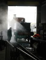 Plenty of atmosphere as Furness Railway No.20 leaves the running shed ready to participate in the Ribble Steam February 2012 gala. No.20 will also be hauling passenger trains at the RSR on eight days in April 2012. <br><br>[Mark Bartlett&nbsp;18/02/2012]