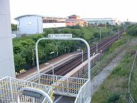 Looking west to Liverpool at Wavertree Technology Park station in 2003. There is a lift down to the platform - or one can brave the 58 steps.<br><br>[Ewan Crawford&nbsp;11/07/2003]
