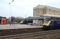 HST and DMU front ends at Swindon station on 22 March 2012.<br><br>[Peter Todd&nbsp;22/03/2012]