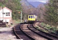 Token exchange at Llanrwst signal box on the Blaenau Ffestiniog branch in the spring of 1990.<br><br>[Ian Dinmore&nbsp;13/05/1990]