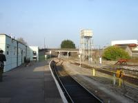 The truncated former main line to Aberystwyth in March 2012 ends by the overbridge just beyond the north end of Carmarthen Station.  <br><br>[David Pesterfield&nbsp;14/03/2012]