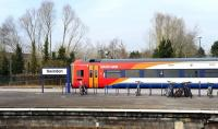 Southwest Trains DMU 158887 about to set off with a Swindon - Cheltenham service on 22 March.<br><br>[Peter Todd&nbsp;22/03/2012]