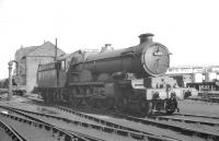 Castle class 4-6-0 no 5069 <I>Isambard Kingdom Brunel</I> in the shed yard at Laira, Plymouth, in August 1961.<br><br>[K A Gray&nbsp;17/08/1961]