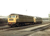 D1555+D6748 standing in the shed yard at Stratford in September 1968.<br><br>[John Furnevel&nbsp;22/09/1968]