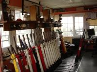 Ferryside signal box interior showing the bulk of levers out of use in March 2012. [See image 28179]<br><br>[David Pesterfield&nbsp;14/03/2012]