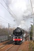 Britannia Pacific 70013 <I>Oliver Cromwell</I> approaching Kingsknowe at speed on 24 March 2012 with 'The Auld Reekie' charter.<br><br>[Bill Roberton&nbsp;24/03/2012]