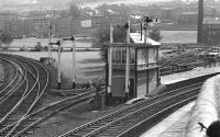 Bingley Junction signal box controlled the north western apex of the triangular junction at Shipley and still possessed <br> an attractive collection of semaphore signals in 1974.<br><br>[Bill Jamieson&nbsp;21/09/1974]