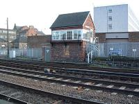 This is a 2004 view of the signalbox at the west end of Middlesbrough station. The station is off to the left.<br><br>[Ewan Crawford&nbsp;20/03/2004]