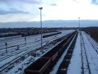 A February 2004 view west over the staging sidings at Tees Marshalling Yard. Off to the left is Thornaby Shed, now closed [see image 20792]. Behind the camera are the down sorting sidings.<br><br>[Ewan Crawford&nbsp;28/02/2004]