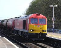 DBS liveried 60079 passing through Didcot on 29 March with a Theale - Robeston oil train.<br><br>[Peter Todd 29/03/2012]