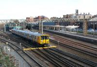 Merseyrail electric unit no. 508127 departs from the west end of Chester station on 21 March 2012 heading for Liverpool. <br><br>[John McIntyre&nbsp;21/03/2012]