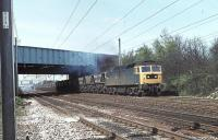 Brush Class 47 47350 takes a rake of MGR hoppers under the M6 Motorway on the Up Fast line at Euxton Junction in 1981. The loco later became Freightliner Class 57 57005 and (as at April 2012) is presently in store at Carnforth [See image 36155]. <br><br>[Mark Bartlett&nbsp;27/04/1981]