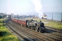 BR Standard Class 4 2-6-4T no 80058 leaves Gourock on 4 September 1959 with a train for Glasgow Central. The locomotive had been delivered to Polmadie from Derby Works new in January 1955 and remained there until withdrawal by BR in July 1966.<br><br>[A Snapper (Courtesy Bruce McCartney)&nbsp;04/09/1959]