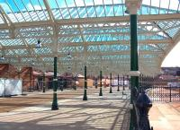 The refurbished concourse and roof canopies at the south end of Tynemouth station in March 2012. A credit to the 'Friends of Tynemouth Station' and other like-minded people who have worked hard over many years in order to bring about this transformation [see image 38206]. <br><br>[Colin Alexander&nbsp;31/03/2012]