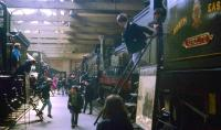 School trips didn't get any better than this... young visitors enjoy climbing around the cabs of Great Northern and North Eastern locomotives on display in the original York Railway Museum on 8 June 1969. <br><br>[John McIntyre&nbsp;08/06/1969]
