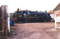 Having recently brought in the last scheduled train of the day from Broomhill, Standard class 4 2-6-4T no 80105 stands on the Strathspey Railway's Aviemore shed in September 2004. <br><br>[John Furnevel&nbsp;17/09/2004]