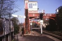 Platform view looking east towards the level crossing at Wylam in May 1990. <br><br>[Ian Dinmore&nbsp;/05/1990]
