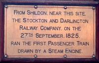 Commemorative plaque at Shildon. [See image 17282]<br><br>[John Thorn&nbsp;//1975]