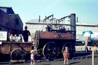 <I>Locomotion</I> working replica at Shildon in 1975 during the Stockton & Darlington Railway anniversary celebrations. <br><br>[John Thorn&nbsp;/08/1975]