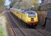 The New Measurement Train heads west from Linlithgow on 9 April with a Heaton - Glasgow Queen Street and return trip.<br><br>[Bill Roberton&nbsp;09/04/2012]