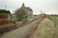 View north at Mormond in 1997. The trackbed had only very recently been turned into a footpath.<br><br>[Ewan Crawford&nbsp;03/02/1997]
