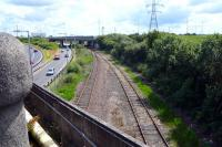 The Deanside loop running alongside the M8 at Braehead in July 2009. <br><br>[Colin Miller&nbsp;/07/2009]