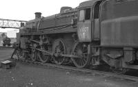 Standard Class 4 No. 75027 on Upperby shed in August 1967. The locomotive was held in reserve for banking duties from Tebay, to which shed it was nominally allocated from April 1967 until closure at the very end of the same year. However, with six of the class available at 12E to cover a dwindling number of banking duties, the call never came. <br><br>[Bill Jamieson&nbsp;27/08/1967]