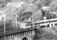 A down BR InterCity 125 service crosses Durham Viaduct northbound in the spring of 1992.<br><br>[John Furnevel&nbsp;07/05/1992]