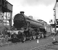 Despite appearances, this is not a c.1948 scene at some LNER shed, but Steamtown Carnforth in 1976. While I am not a fan of apple green on big engines, the effect in monochrome is quite pleasing on the B1, spoiled only by it carrying a fictitious name and number (it was delivered as BR No. 61306 from NBL in April 1948).<br><br>[Bill Jamieson&nbsp;08/05/1976]