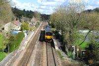 View over Avoncliff station on 12 April 2012 with 150106 about to leave for Great Malvern.<br><br>[Peter Todd&nbsp;12/04/2012]
