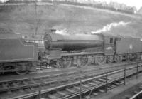 Gresley J39 0-6-0 no 64875 on shed at Hawick, thought to have been photographed in the late 1950s. [The locomotive was allocated to Carlisle Canal shed for several years prior to moving south in November 1958.] ['Rescued' image]<br><br>[Robin Barbour Collection (Courtesy Bruce McCartney)&nbsp;//]